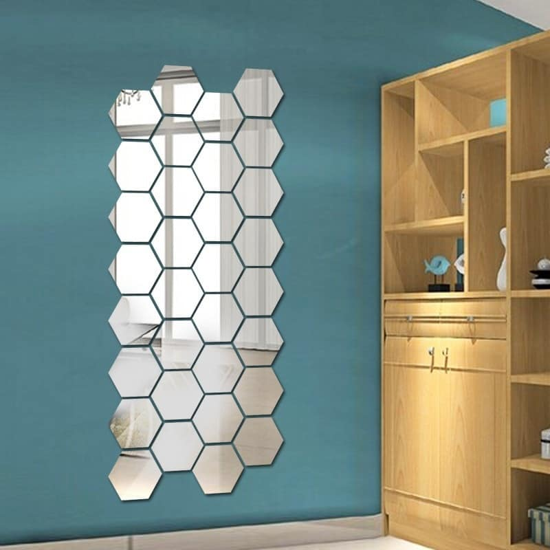Mirror Decals Hexagon Wall Stickers